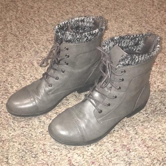 Mudd Womens Booties Grey Leather Kohls